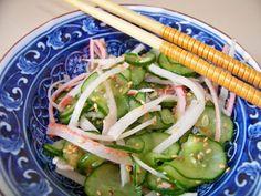 Receita Entrada : Sunomono com kani kama de Trainee de cozinheira