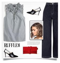 """Ruffle Top"" by tawnee-tnt ❤ liked on Polyvore featuring J.Crew, Alexander White and ruffledtops"