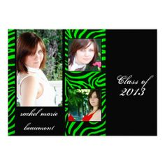 This cool graduation announcement is a modern twist on a classic look. The background is black with neon green zebra stripes creating a fram...