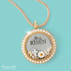 """New for Easter 2016 from Origami Owl  Large """"He is Risen"""" plate.  Beginning Feb. 2, 2016  lifeinsidealocket.origamiowl.com"""