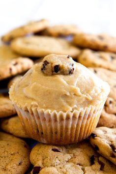 """Cookie dough cupcakes with cookie dough """"frosting"""" ...sinful sinful sinful."""