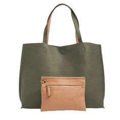 Street Level Olive/Nude Reversible Tote