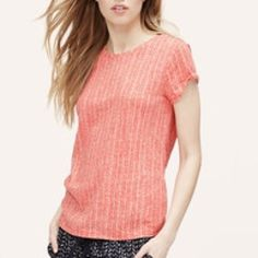 LOFT Chevron Stripe Broken-In Tee - Size L In excellent condition! Bright Coral Pink color. LOFT Tops Tees - Short Sleeve