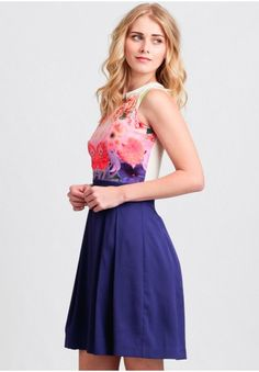 Floral Placement Print Dress By Wolf