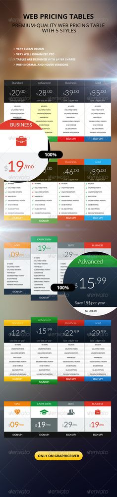 Clean Pricing Table  #GraphicRiver          Clean Web & Hosting Price Table  	  HTML Version is available themeforest /item/studio9-multipurpose-html5-template/6286593?WT.ac=portfolio&WT.seg_1=portfolio&WT.z_author=pixelzeesh  	 This is a clean and modern price table, You can use it on your blog, website, flyers, brochures & banners..  	 The file includes: 1 PSD files fully layer with 5 group folder  	 Font Used: Lato (Web Font)  	  If you like my template, please rate it        Font…