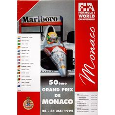 #monaco #grandprix poster 1992 Winner: Ayrton Senna / McLaren-Honda Find all the Grand Prix of Monaco official products in partnership with the Automobile Club of Monaco, as well as web exclusives! http://monaco-addict.com