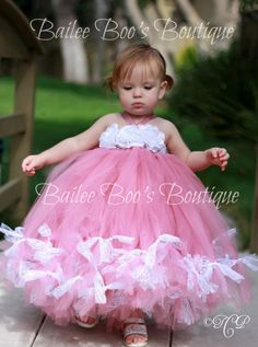 So pretty!!!   Pink Tutu Dress Vintage Style Flower Girl Tutu Dress by lovebug11, $66.00