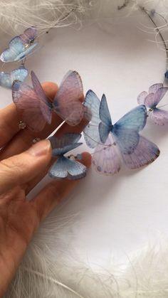 Butterfly Necklace, Silk Butterfly, Purple Butterfly Necklace, Pale Blue Butterfly Necklace This is sooooooo amazing and beautiful. I absolutely love it Resin Jewelry, Jewelry Crafts, Handmade Jewelry, Butterfly Jewelry, Butterfly Necklace, Blue Necklace, Necklace Set, Fabric Flowers, Paper Flowers