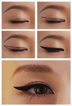 How to Apply Winged Eyeliner for Different Eye Shapes Winged Eyeliner for Monolids – Das schönste Make-up Asian Eye Makeup, Eye Makeup Steps, Smokey Eye Makeup, Makeup Tips, Beauty Makeup, Makeup Products, Makeup Ideas, Asian Makeup Tutorials, Beauty Uk