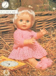 Doll Patterns, Clothing Patterns, Print Patterns, Knitting Patterns, Baby Dress, Crochet Baby, Crocheting, Larger, Doll Clothes
