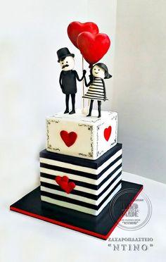 """Lovers"" Wedding Cake by Aspasia Stamou Pretty Cakes, Beautiful Cakes, Amazing Cakes, Girly Cakes, Fancy Cakes, Cool Wedding Cakes, Wedding Cake Designs, Fondant Cakes, Cupcake Cakes"