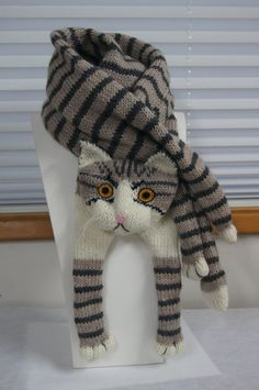Tabby Gray Cat Scarf Knitting Scarf Gray Scarf Cowl Scarf Long Scarf knit, winter scarf, Christmas Gift, Multicolor Scarf Tabby Gray Cat Scarf Knitting Scarf Gray Scarf Cowl by EastalaceKnitting Patterns Mittens nice soft and warm scarf. Fox Scarf, Hand Knit Scarf, Grey Scarf, Baby Knitting, Crochet Baby, Cat Crochet, Kids Crochet, Knitting Patterns, Knit Patterns