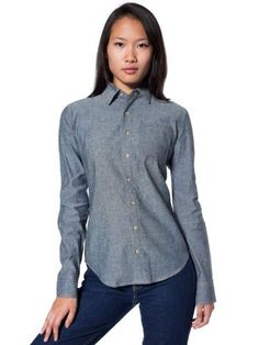 American Apparel Unisex Heavy Chambray Long Sleeve Button-Up American Apparel. $60.00