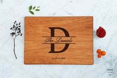 Engagement Gift Monogram Cutting Board by WoodLuckEngraved on Etsy