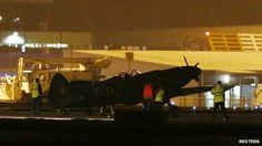Rolls-Royce examines Spitfire plane which crashed at East Midlands Airport