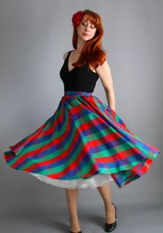 Gorgeous 1950s Red Green Blue Check Circle Skirt. by gogovintage, $88.00