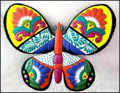 Butterflies Metal Wall Hanging - Decorative Hand Painted Metal Art Butterfly Wall Decor- Outdoor Garden Art - Tropical Design - M901-OR-17 by TropicAccents on Etsy