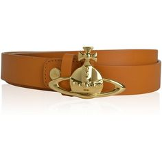 VIVIENNE WESTWOOD ACCESSORIES Orb Gold Toned Plated Belt ($120) ❤ liked on Polyvore featuring accessories, belts, real leather belts, leather buckle belt, buckle belt, embossed leather belt and genuine leather belt