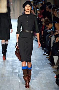 Victoria Beckham 2012 fall line. Perfect dress with perfect boots and socks.
