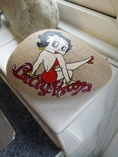 Betty boop stone, handpainted for a friend...by Clair Dixon!