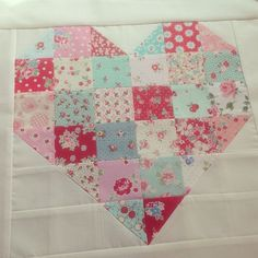 """""""Finished piecing this patchwork heart pillow cover last night, now I'm just thinking of how to hand stitch it!"""""""