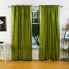 Indian Selections Olive Green Rod Pocket Sheer Sari Curtain / Drape / Panel - Pair (63 Inches - matching lining 80 x 63 inches (203 x 160 cms)), Size matching lining 80 x 63 inches 203 x 160 cms #IndianHomeDecor