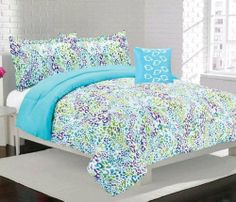 FULL Girls Teen Blue Purple Green FUN LEOPARD ANIMAL PRINT Comforter Bedding SET