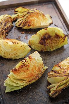 These roasted cabbage wedges are a delicious side dish for any meal! Drizzle them with olive oil and finish with red pepper flakes, or top with fresh herbs!