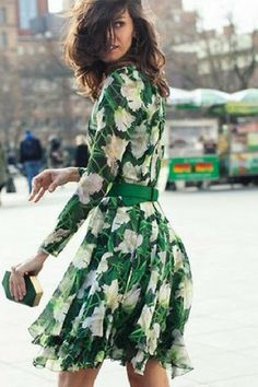 Spring with floral printed waist belted skirt knee length dress