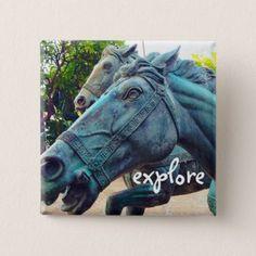 Explore turquoise blue horse statue photo button - accessories accessory gift idea stylish unique custom
