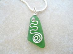 Beach Glass Pendant Necklace Sterling Silver Spiral Green $30 on Etsy