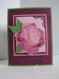 handmade card ... Fifth Avenue Floral from www.stampingmadly.com ... mauve purple  ... gorgeous watercolor look with white embossing ... great card!! ... Stampin' Up!