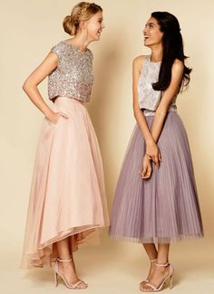 Alternative bridesmaid style ideas that go beyond the dress - Wedding Party. Crop top and skirt provide endless possibilities ro dress up! Wedding Bridesmaid Dresses, Wedding Party Dresses, Prom Dresses, Formal Dresses, Sequin Bridesmaid, Bridesmaid Outfit, Dresses 2016, Dress Prom, Bohemian Bridesmaid