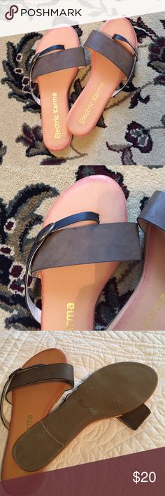 Electric Karma sandals. Electric Karma sandals. Faux leather straps and buckle. Slight cushion in the sole. Worn once. Perfect condition. Electric Karma Shoes Sandals