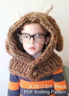 Knitting PATTERN Chunky Deer Hood in Toddler by ErinBlacksDesigns