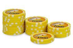 Rouleau de 25 jetons Royal Flush 1000 - Pokeo.fr - Rouleau de 25 jetons de poker Royal Flush 1000 jaune en PP stické 11,5g pour joueurs débutants.