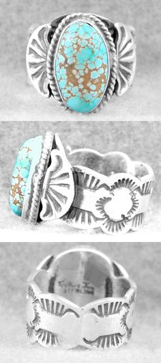 Rings 98500: Mens Navajo Ring Turquoise Size 11½ #8 Edgar Sterling Silver Gilbert Tom Z -> BUY IT NOW ONLY: $399.95 on eBay!