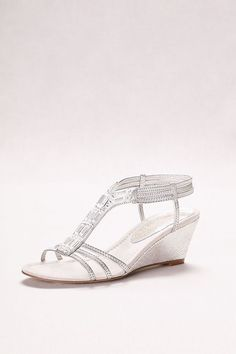 05111ebe4 Metallic Wedge Sandals with Jeweled T-Straps