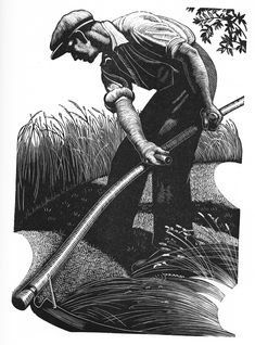 """""""Scything"""", Wood engraving by Clare Leighton. Norman Rockwell, Gravure Illustration, Illustration Art, Linocut Prints, Art Prints, Block Prints, Gravure Photo, Scratchboard Art, Wood Engraving"""