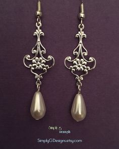 Lady Grantham's Silver and Vintage Pearl Dangles by SimplyGDesigns