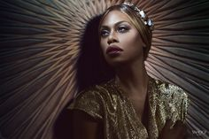 Laverne Cox from Orange is the New Black wears a Swarovski necklace as a crown. Photography by Finlay Mackay for Yahoo Style