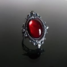 Victorian gothic ring Ruby red filigree silver steampunk goth wedding SINISTRA