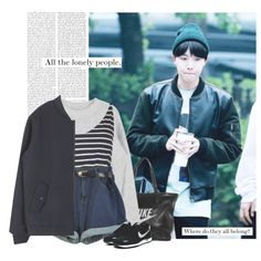 Hoseok: all the lonely people. where do they all belong? by yxing on Polyvore featuring Topshop, NIKE, kpop, bless, bangtan, Jhope and hoseok