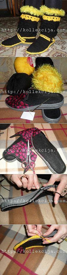 Домашние тапочки сапожки своими руками | Своими руками — интернет журнал Captain Hat, Dress Shoes, Knitting, Lace, Macrame, Socks, Zapatos, Shoes Sandals, Over Knee Socks