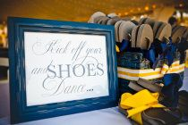 Guest flip flops for wedding at the beach.
