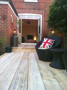 Garden, Scaffolding boards fitted to create a natural looking dec. Victorian House, Renovation.