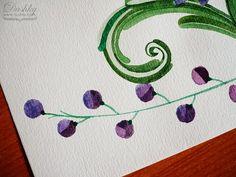 #watercolor #flower #leaves #purple #green #illustration by #dushky