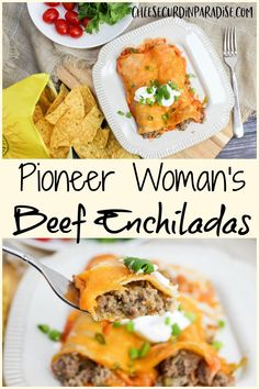 Pioneer Woman's Beef Enchiladas are the ultimate meaty enchilada coated with flavorful red red sauce and baked with cheese. for dinner for two main dishes Beef Dishes, Food Dishes, Main Dishes, Food Food, Quesadillas, Meat Recipes, Cooking Recipes, Beef Enchilada Recipes, Easy Mexican Food Recipes
