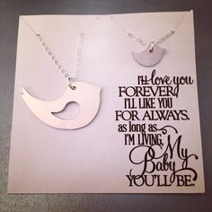 Mama and Baby Bird Set Ready to Ship - Custom Necklace Set Handmade by KristinesKeepsakes