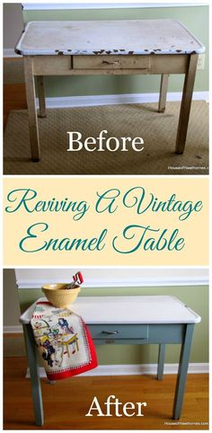 To Update A Vintage Enamel Top Table How I rescued and updated my mom's vintage enamel topped table. It looks so much better now :)How I rescued and updated my mom's vintage enamel topped table. It looks so much better now :) Refurbished Furniture, Repurposed Furniture, Furniture Makeover, Vintage Furniture, Painted Furniture, Furniture Projects, Furniture Making, Home Projects, Diy Furniture